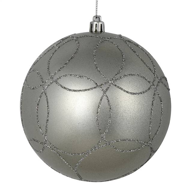"4"" Silver Candy Ball Circle Glitt 4/Bag"