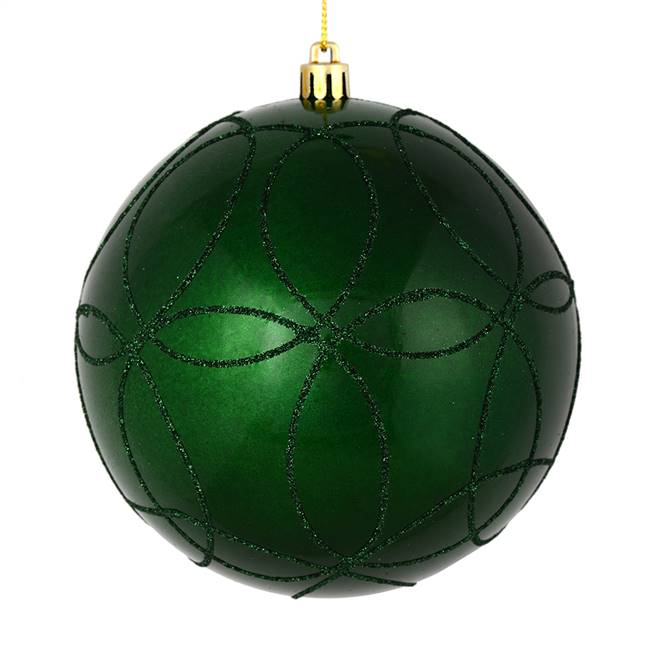"4"" Emerald Candy Ball Circle Glitt 4/Bag"