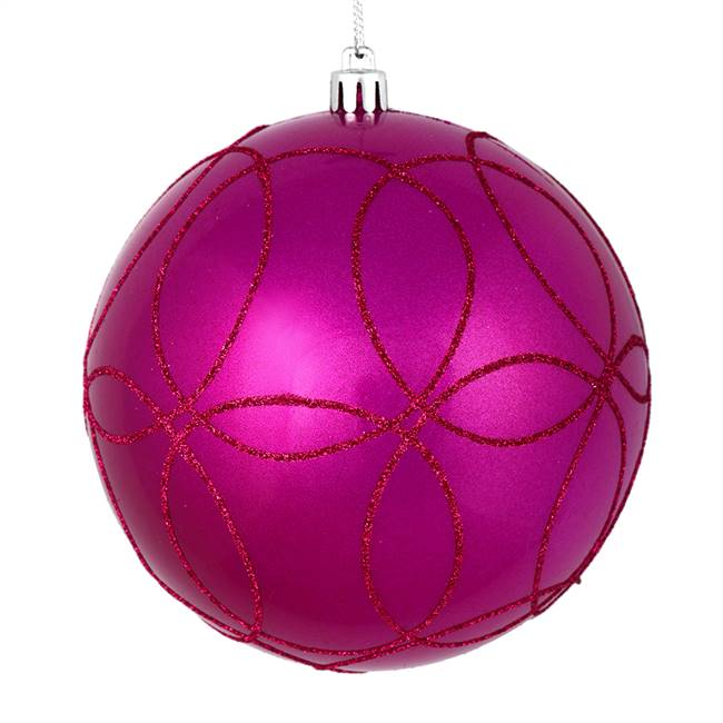 "6"" Fuchsia Candy Ball Circle Glitt 3/Bag"