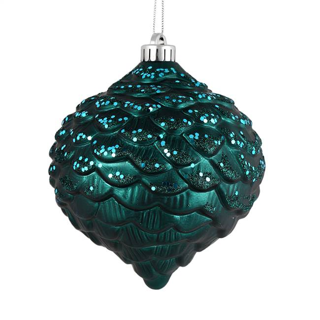 "6"" Sea Blue Glitter Pine Cone 6/Bag"