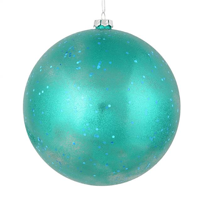 "4.75"" Teal Glitter Clear Ball 4/Bag"