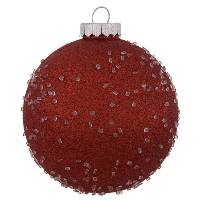 "6"" Red Ice Ball Ornament 4/Bag"