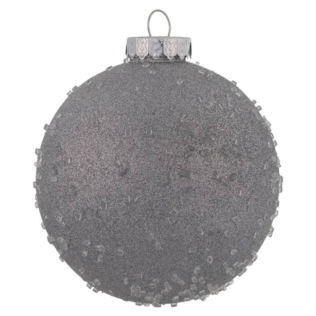 "6"" Silver Ice Ball Ornament 4/Bag"