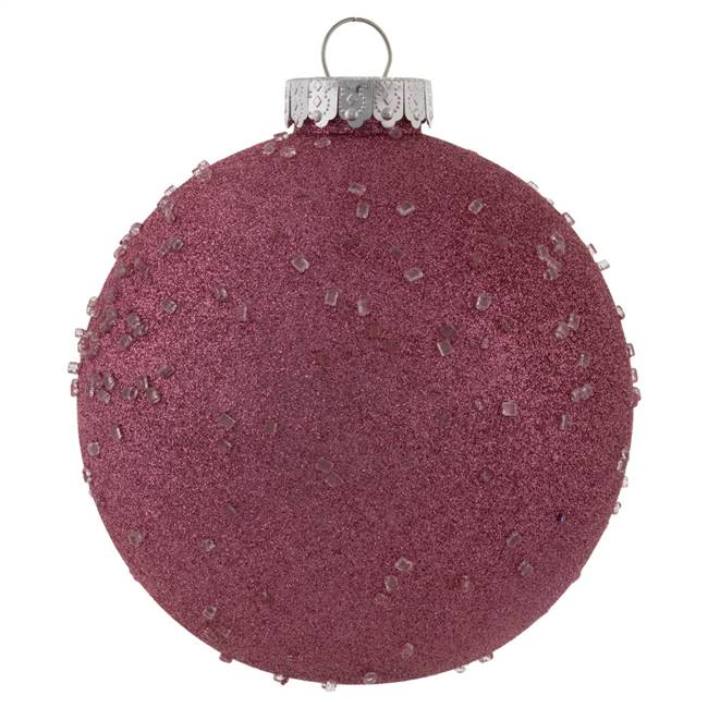 "6"" Mauve Ice Ball Ornament 4/Bag"