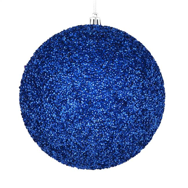 "4"" Blue Beaded Ball Drilled 6/Bag"