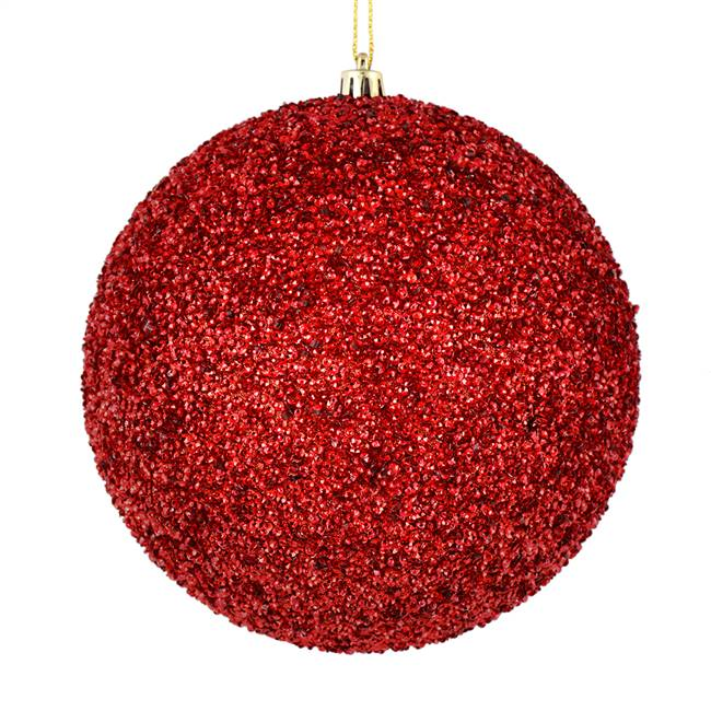 "4"" Red Beaded Ball Drilled 6/Bag"
