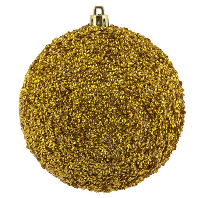 "4"" Gold Beaded Ball Drilled 6/Bag"