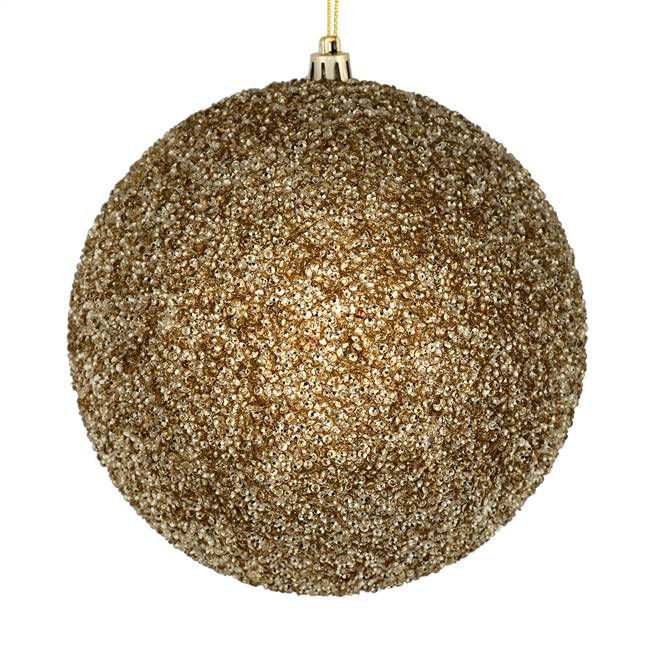 "4"" Champagne Beaded Ball Drilled 6/Bag"