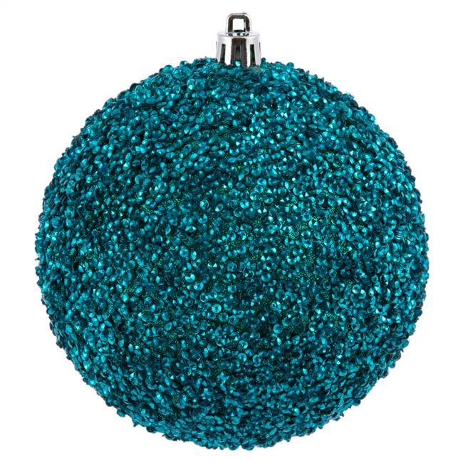 "4"" Teal Beaded Ball Drilled 6/Bag"