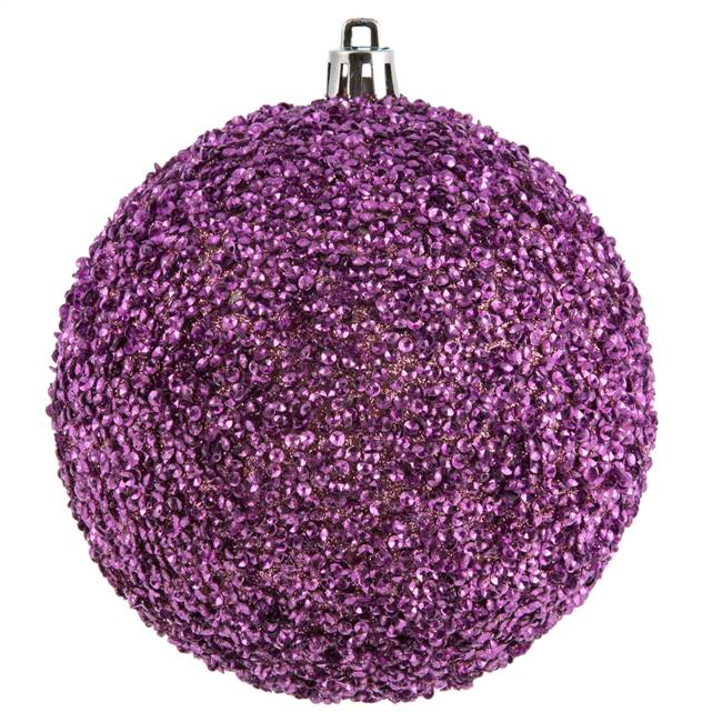 "4"" Mauve Beaded Ball Drilled 6/Bag"