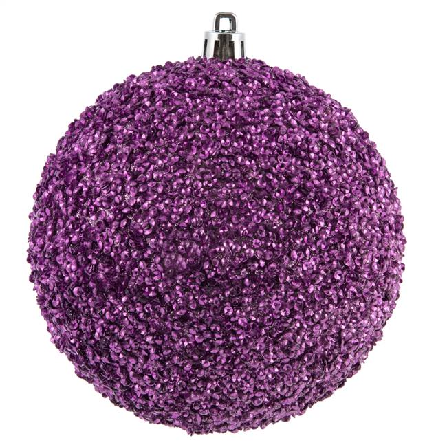 "4"" Orchid Beaded Ball Drilled 6/Bag"