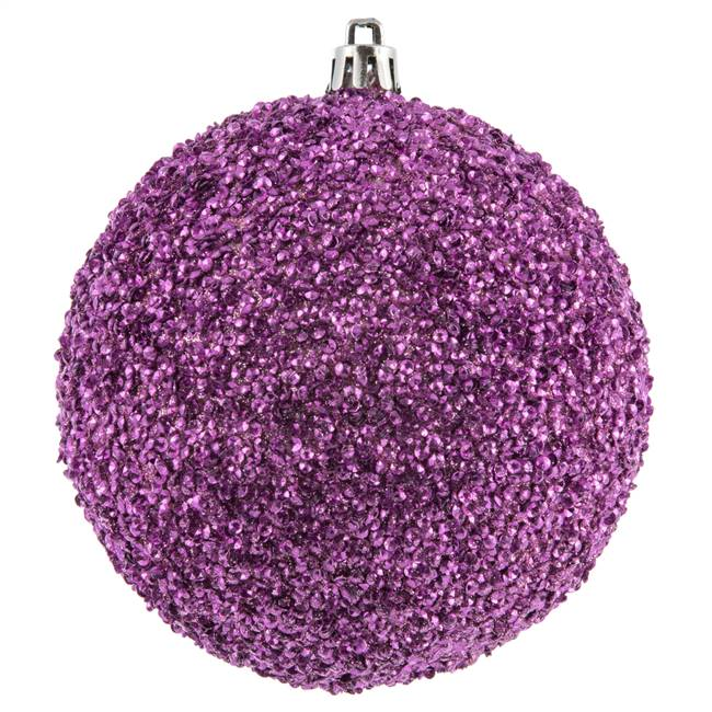 "4"" Pink Beaded Ball Drilled 6/Bag"