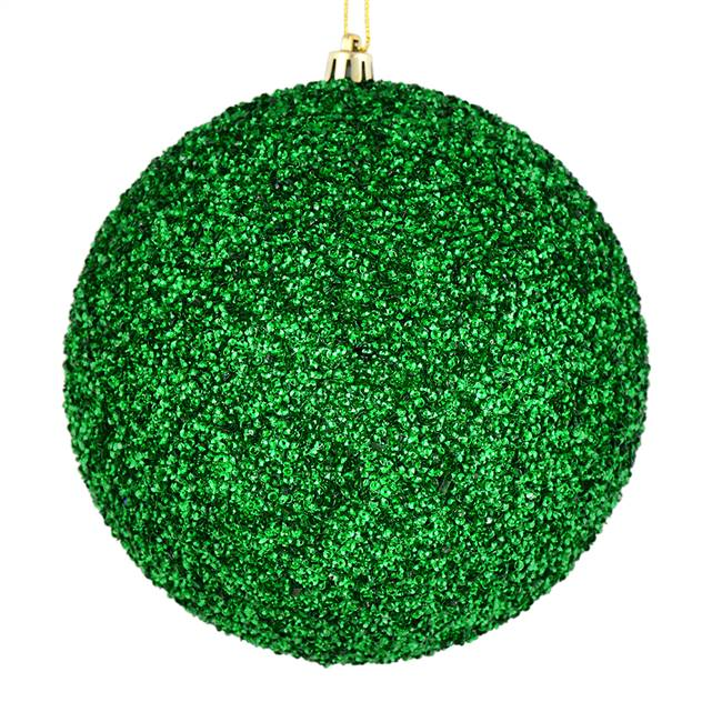"4.75"" Green Beaded Ball Drilled 6/Bag"