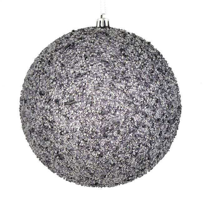 "4.75"" Silver Beaded Ball Drilled 6/Bag"