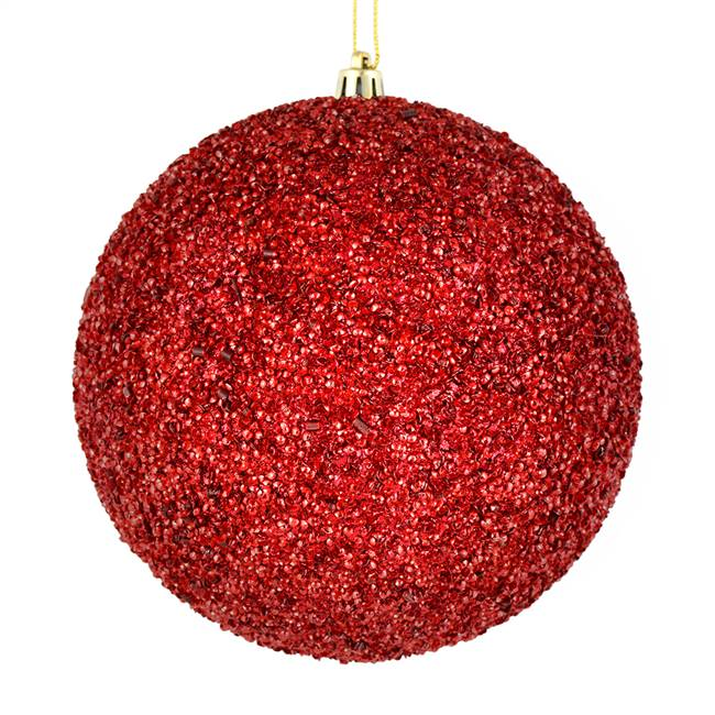 "4.75"" Wine Beaded Ball Drilled 6/Bag"