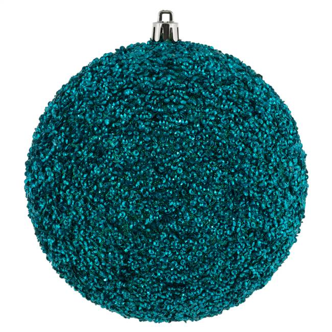 "4.75"" Teal Beaded Ball Drilled 6/Bag"