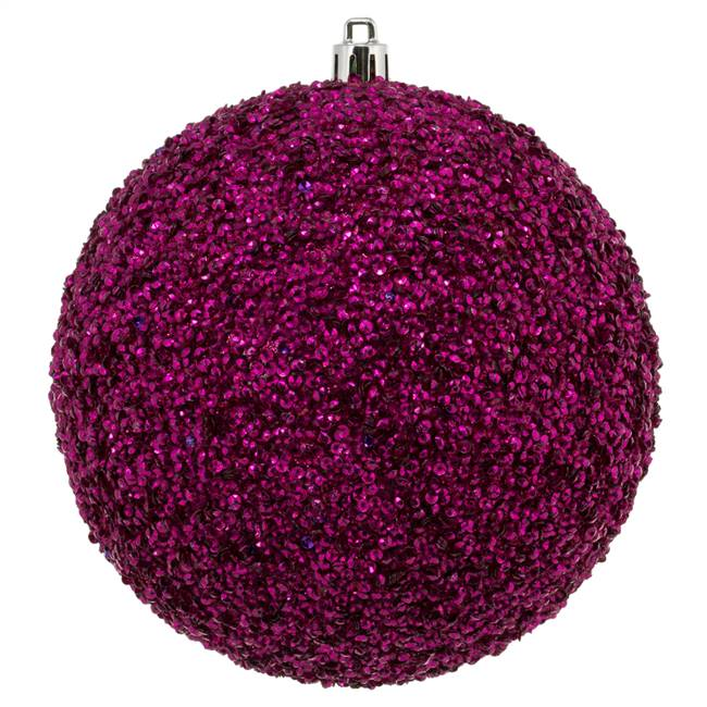 "4.75"" Fuchsia Beaded Ball Drilled 6/Bg"