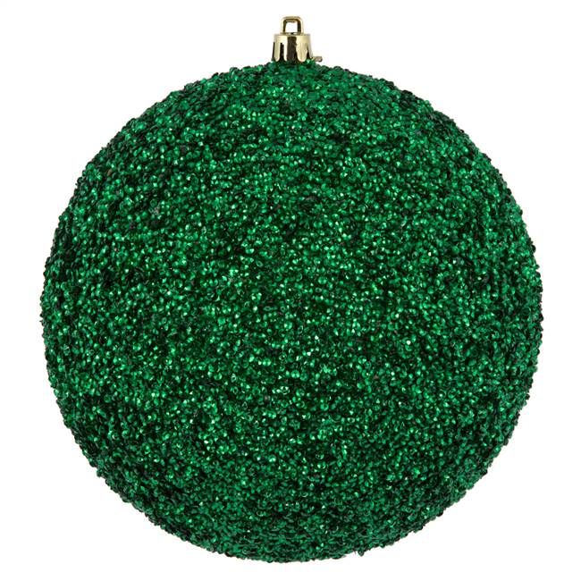"6"" Emerald Beaded Ball Drilled 4/Bag"