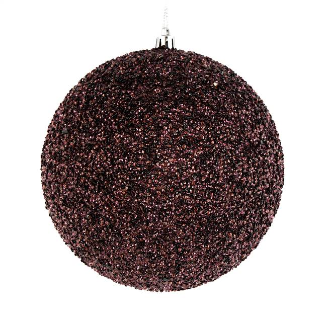 "6"" Chocolate Beaded Ball Drilled 4/Bag"