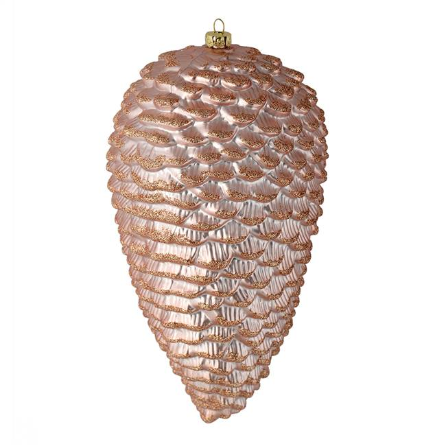 "7"" Rose Gold Matte Glitter Pinecone 4/Bg"