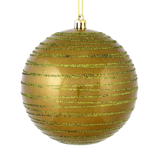 "4"" Olive Candy Glitter Ball 4/Bag"