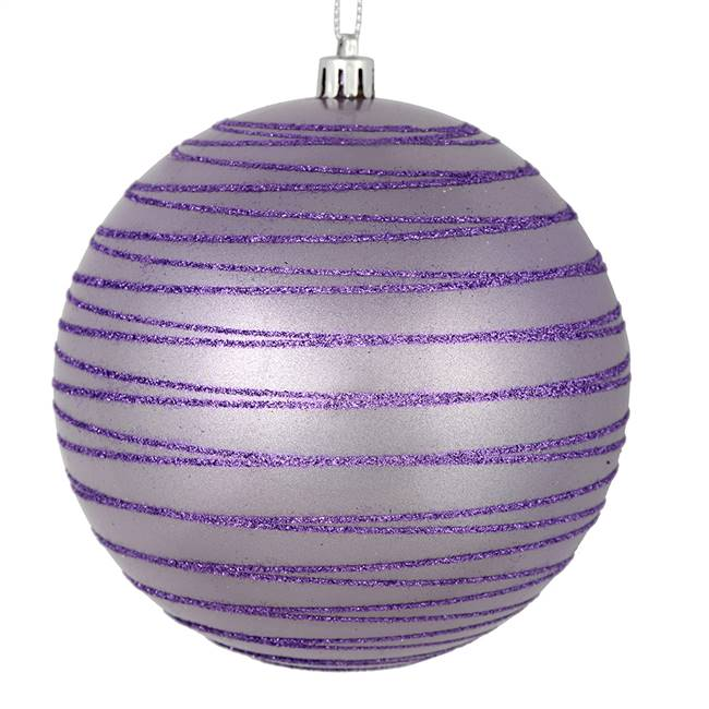 "4"" Lavender Candy Glitter Ball 4/Bag"