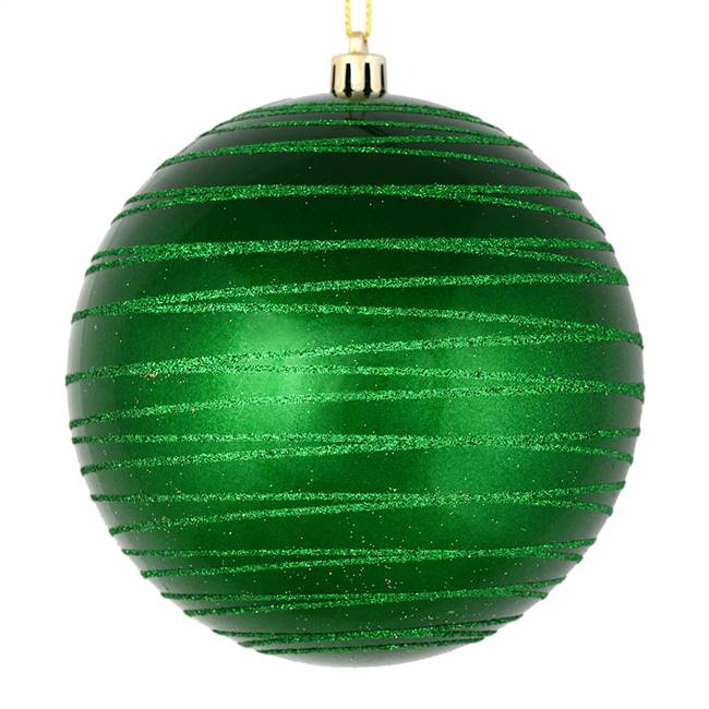 "4.75"" Green Candy Glitter Ball 4/Bag"