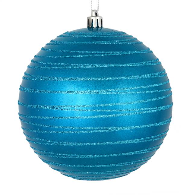 "4.75"" Turquoise Candy Glitter Ball 4/Bag"