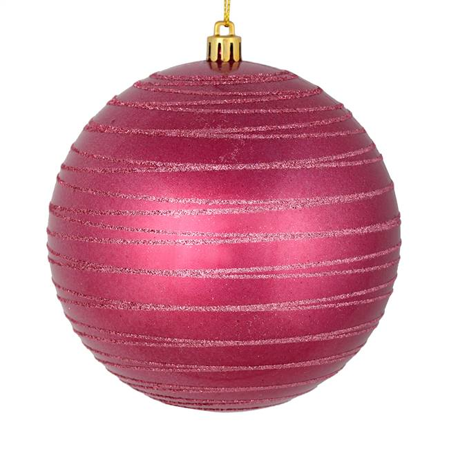 "4.75"" Berry Red Candy Glitter Ball 4/Bag"