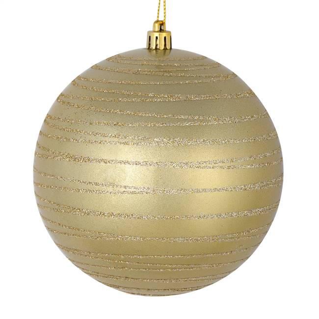 "4.75"" Champagne Candy Glitter Ball 4/Bag"
