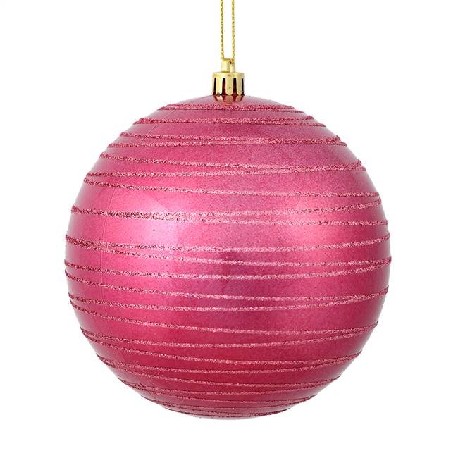 "4.75"" Mauve Candy Glitter Ball 4/Bag"