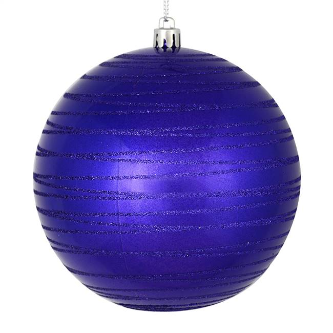 "4.75"" Purple Candy Glitter Ball 4/Bag"