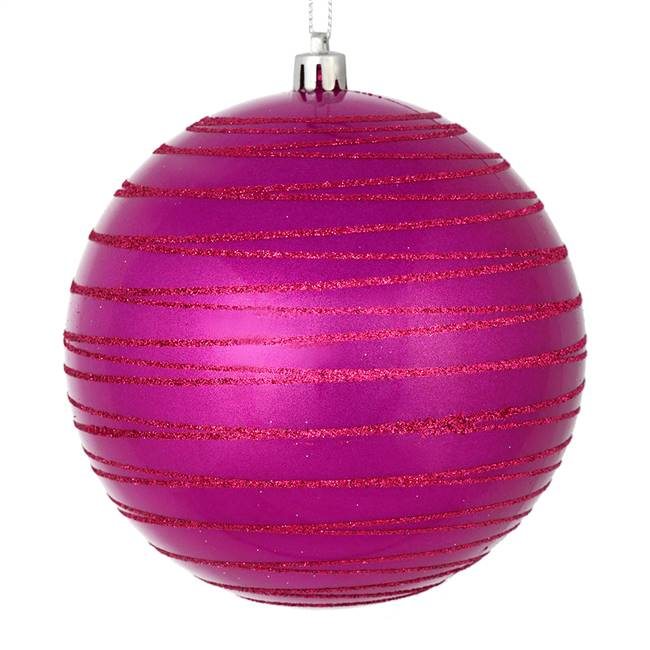 "4.75"" Fuchsia Candy Glitter Ball 4/Bag"