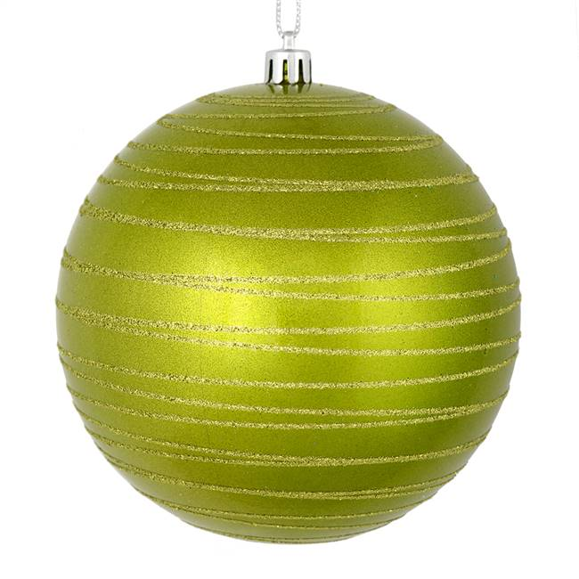 "4.75"" Lime Candy Glitter Ball 4/Bag"