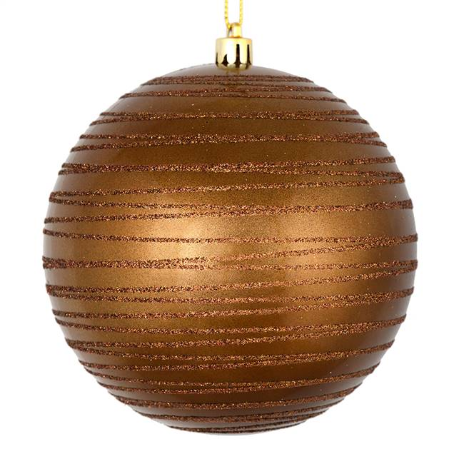 "4.75"" Mocha Candy Glitter Ball 4/Bag"