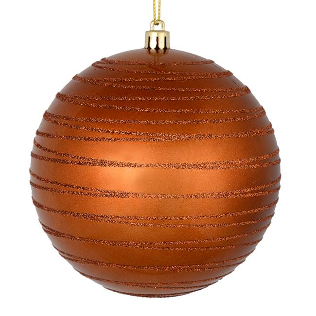 "4.75"" Copper Candy Glitter Ball 4/Bag"