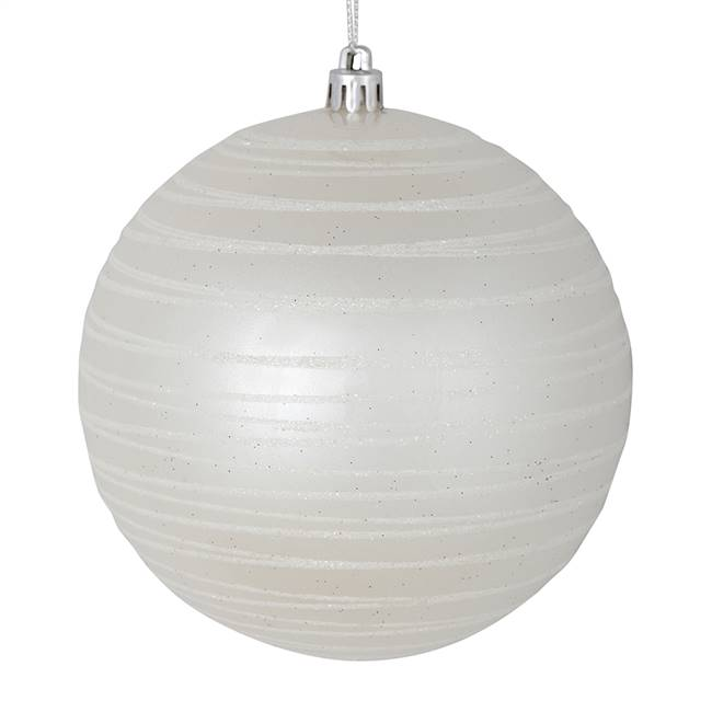 "6"" White Candy Glitter Ball 3/Bag"