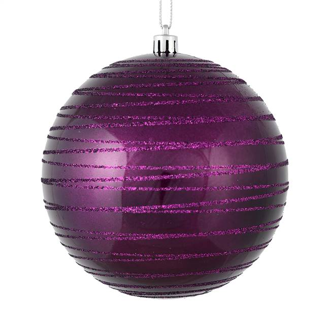 "6"" Plum Candy Glitter Ball 3/Bag"