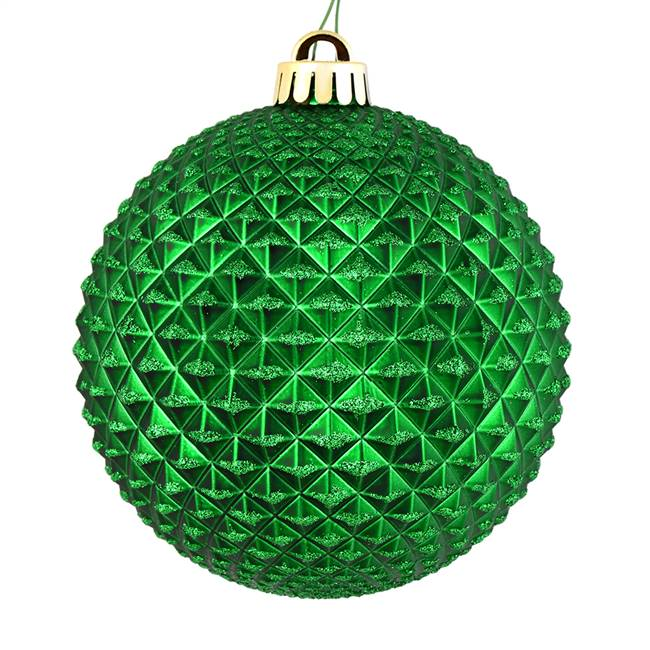 "4"" Green Durian Glitter Ball 6/Bag"