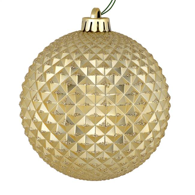 "4"" Champagne Durian Glitter Ball 6/Bag"