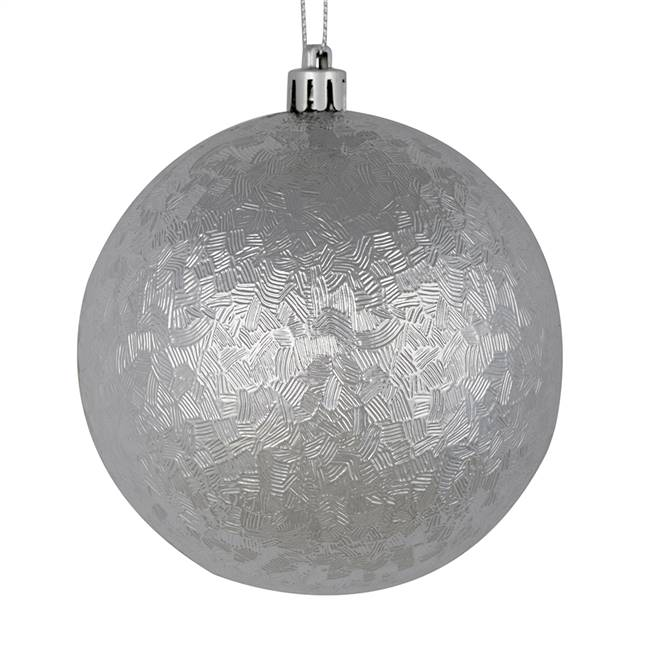 "4"" Silver Brushed Ball 6/Bag"