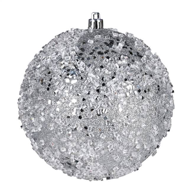 "4"" Silver Glitter Hail Ball 6/Bag"
