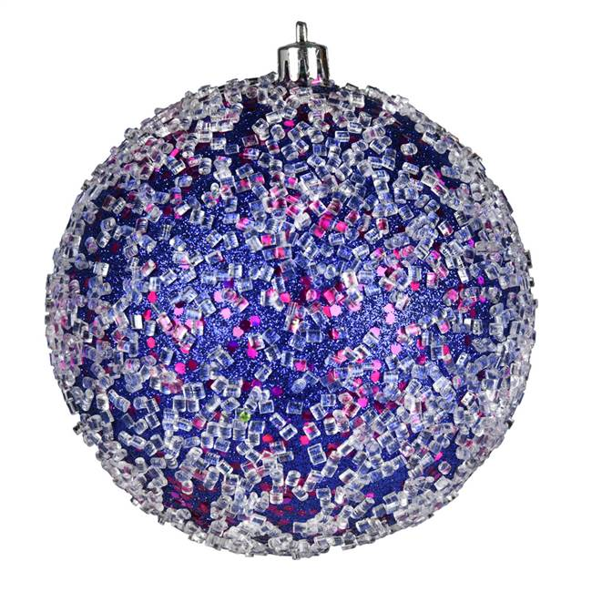 "4"" Cobalt Blue Glitter Hail Ball 6/Bag"