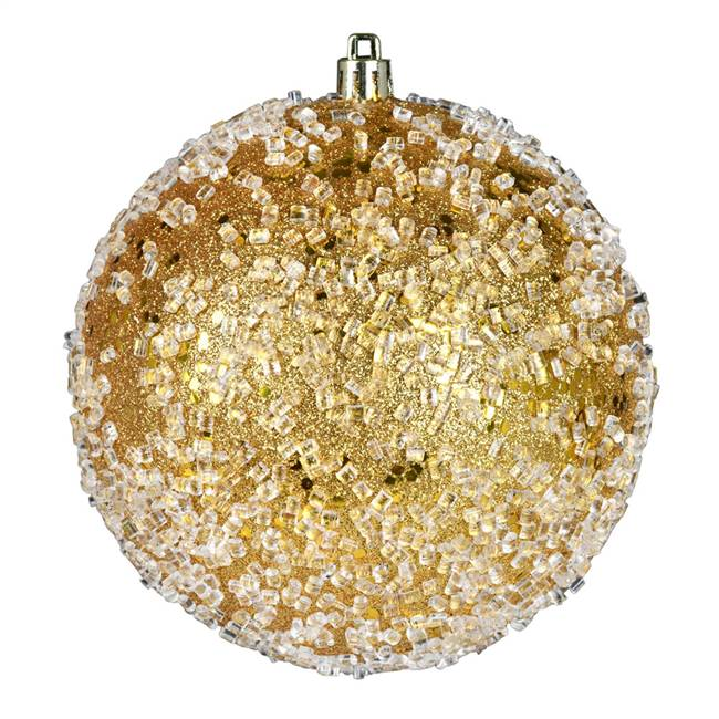 "4"" Honey Gold Glitter Hail Ball 6/Bag"