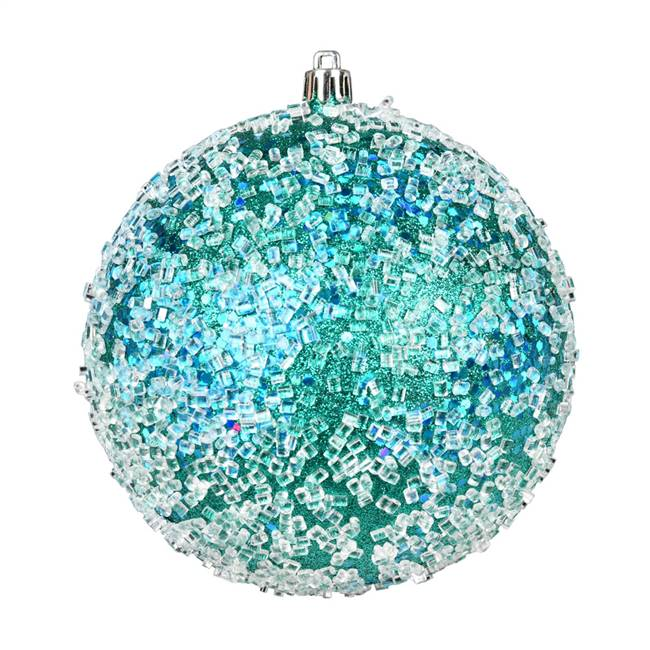 "4"" Teal Glitter Hail Ball 6/Bag"
