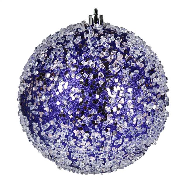 "4"" Purple Glitter Hail Ball 6/Bag"