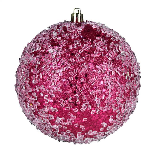 "4"" Fuchsia Glitter Hail Ball 6/Bag"
