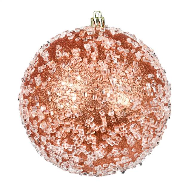 "4"" Coral Glitter Hail Ball 6/Bag"