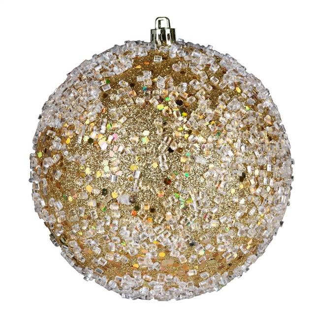 "4.75"" Gold Glitter Hail Ball 4/Bag"