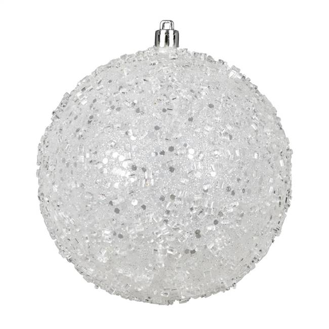 "4.75"" White Glitter Hail Ball 4/Bag"